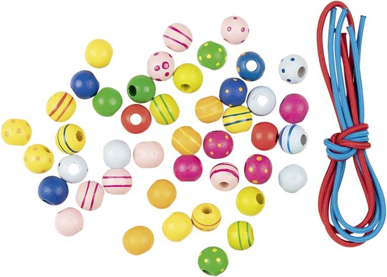 Perlen mit Bändern Ø=10 mm, Holz,22-farbig sortiert,3 Bänder,44 Perlen, per Set