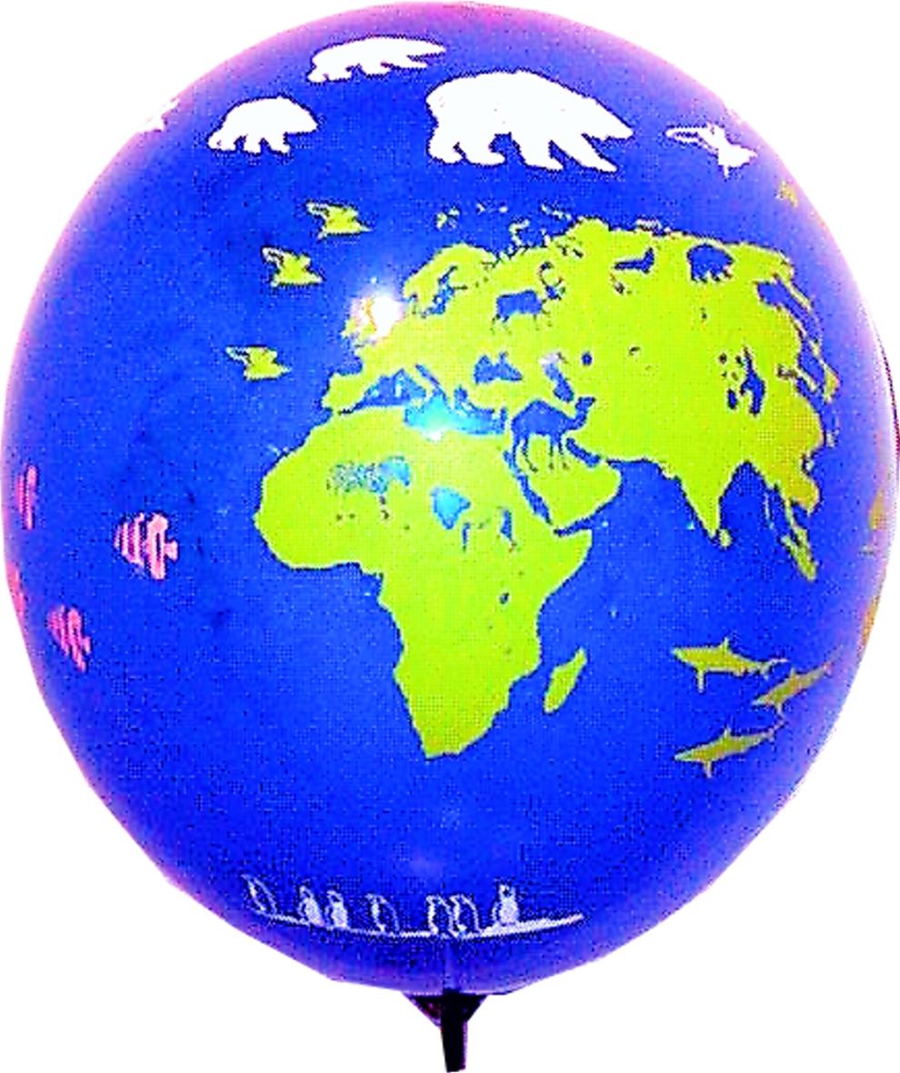 Gas-Ballon bl/gr Luftballon, auch für Helium
