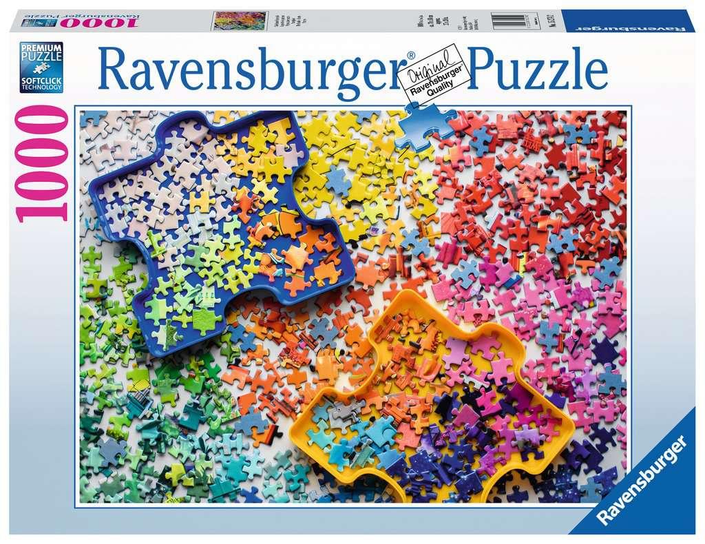 Viele bunte Puzzleteile
