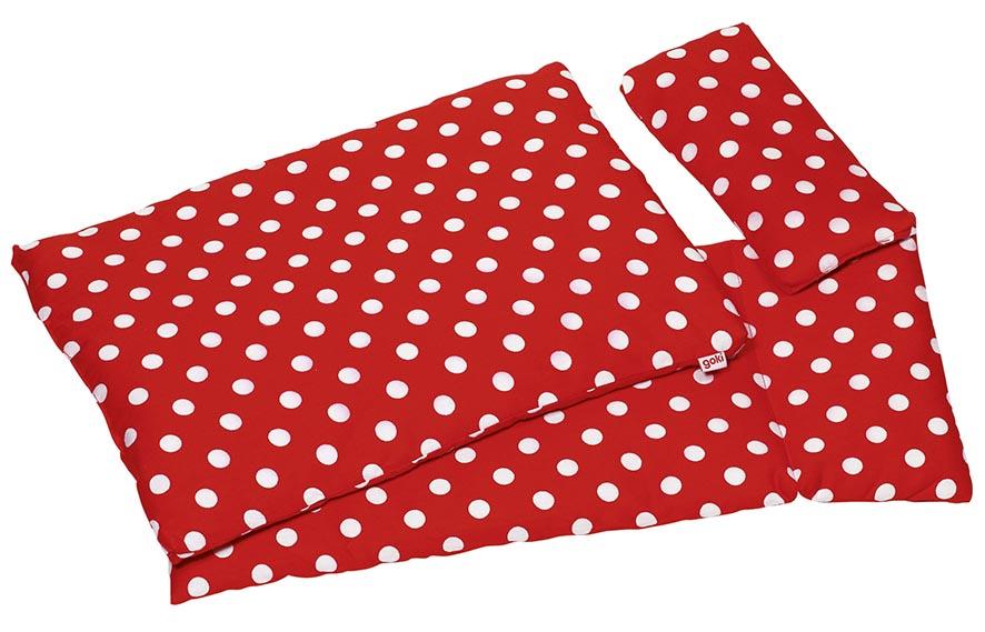 Puppenbettzeug Pünktchen Kopfkissen= 22 x 10 cm, Oberbett= 41 x 31 cm,