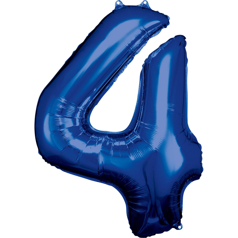 Grosse Zahl 4 Blau Folienball