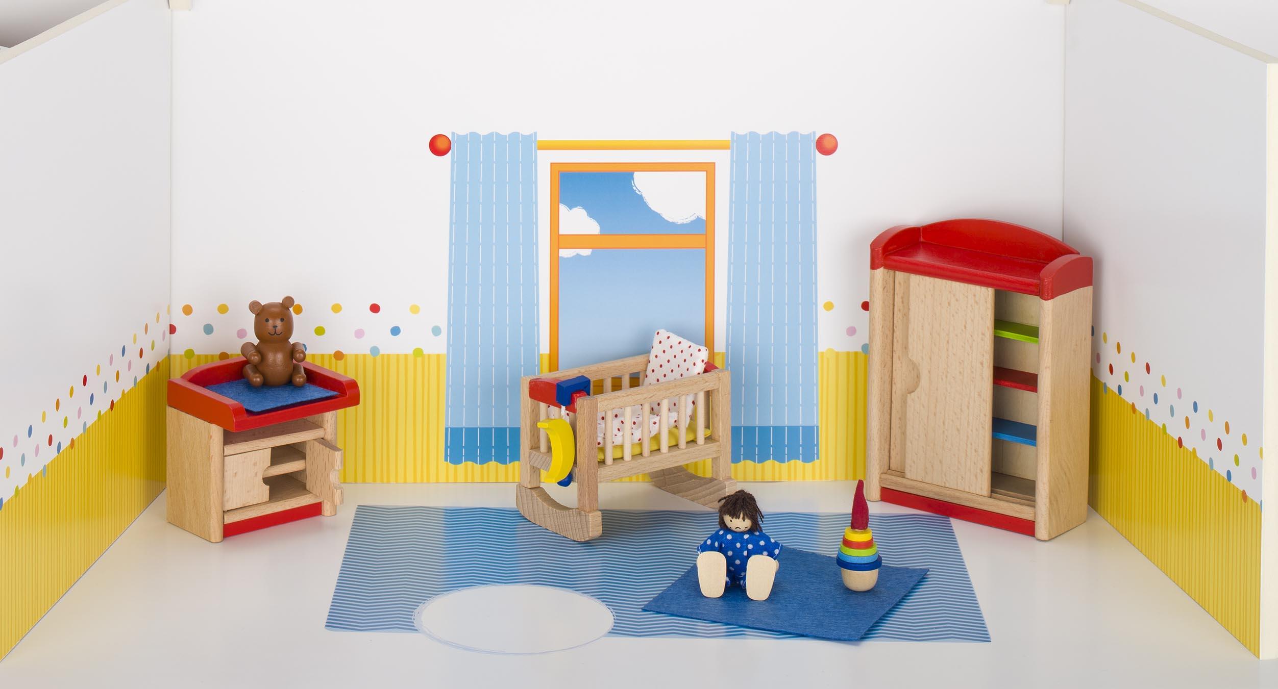 Puppenmöbel Babyzimmer Schrank H= 13 cm, Buchenholz, 12 Teile, per Set