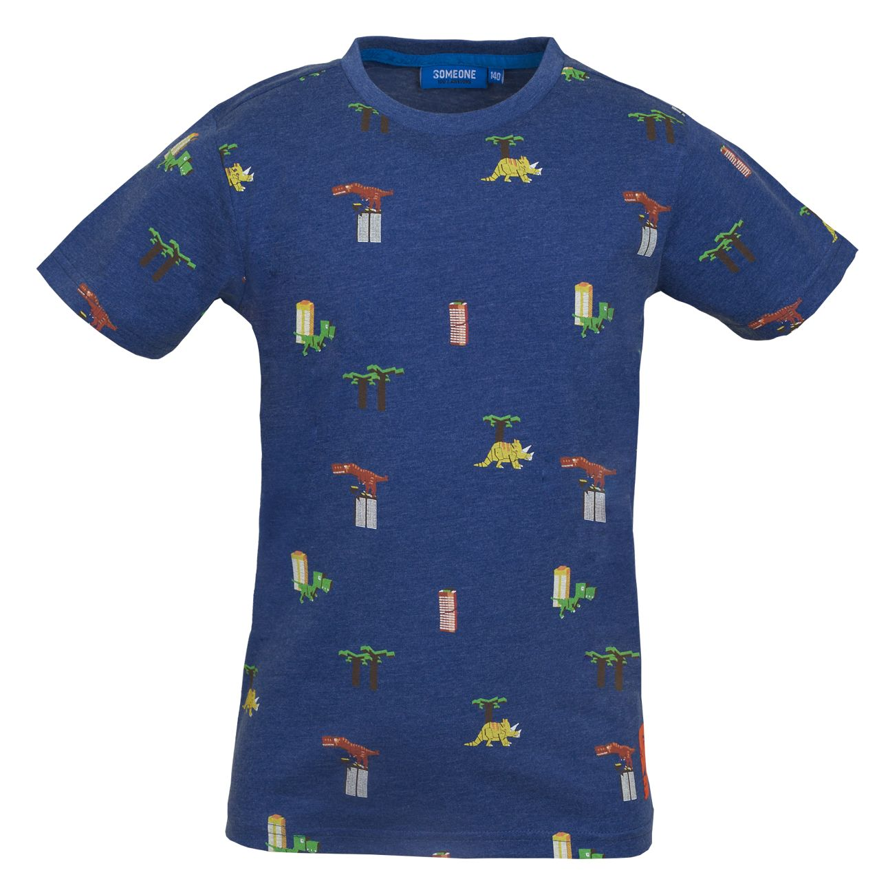 T-Shirt Dinos 122 Blue SOMEONE 100% Awesome
