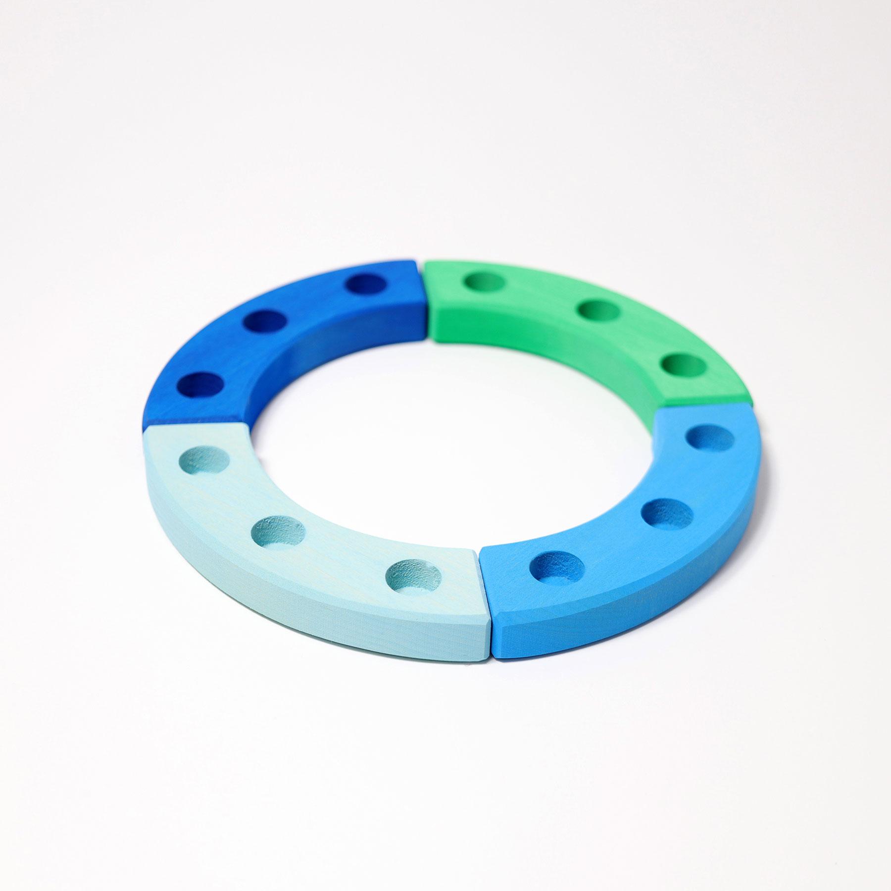 1/4 Ring blau-grün 3er