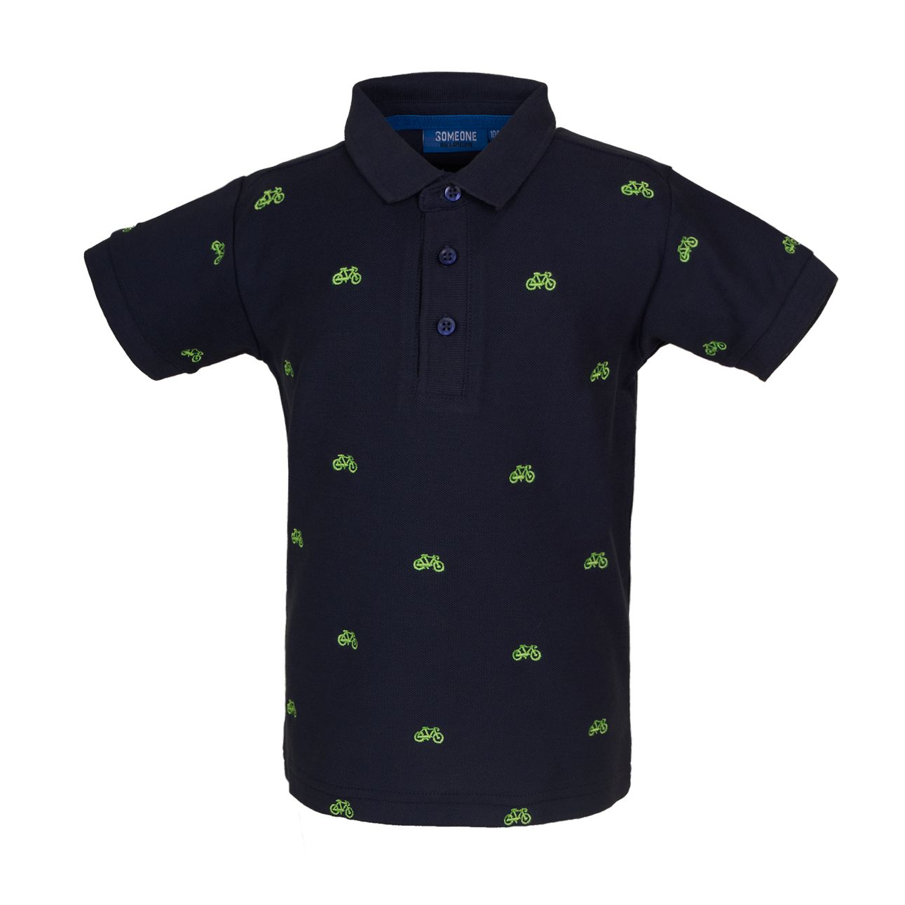 Polo Shirt Fahrrad 128 Navy SOMEONE 100% Awesome