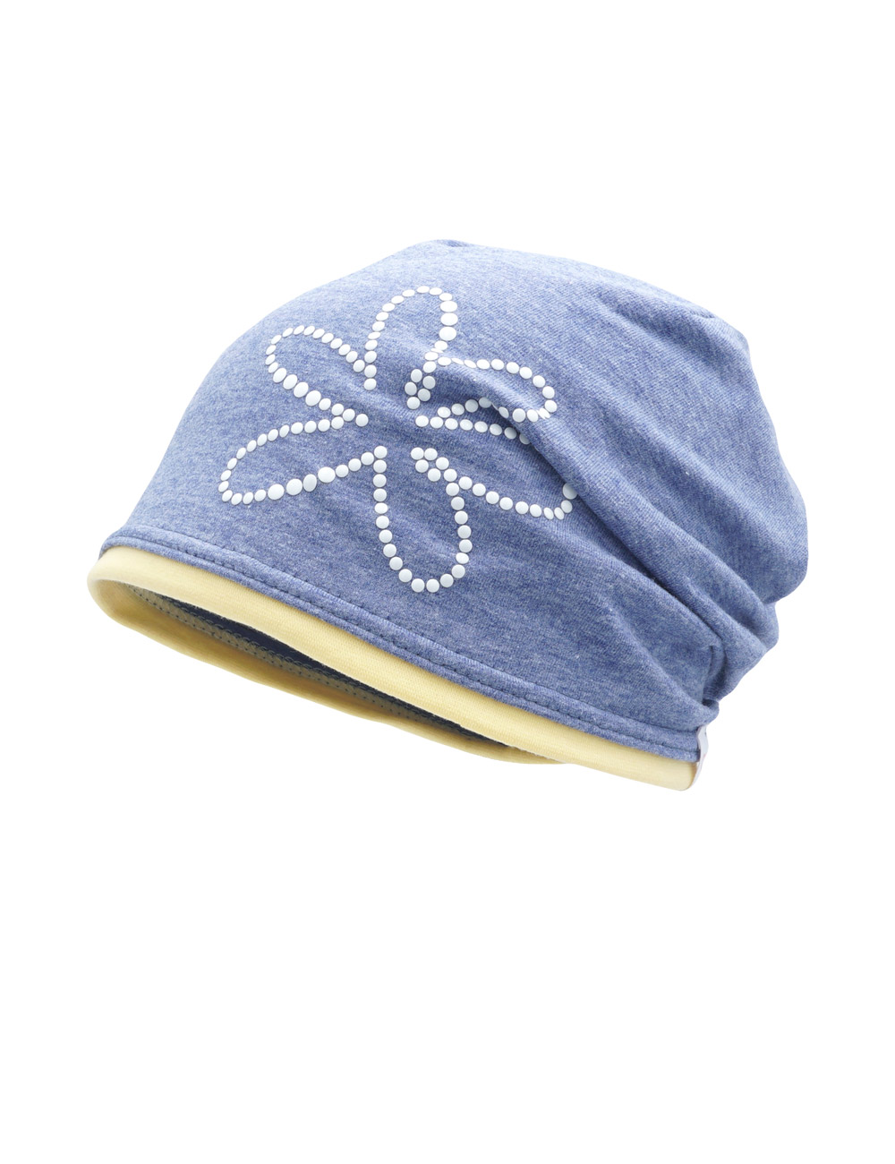 Beanie middle, Rollrand 49 Maximo. Farbe: jeansmeliert/narzisse, Größe: 49