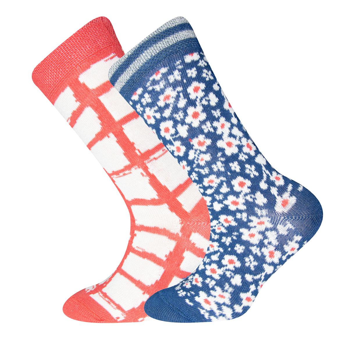 Socken 2er Pack Sanetta Blümchen, Karo , Größe: 31-34
