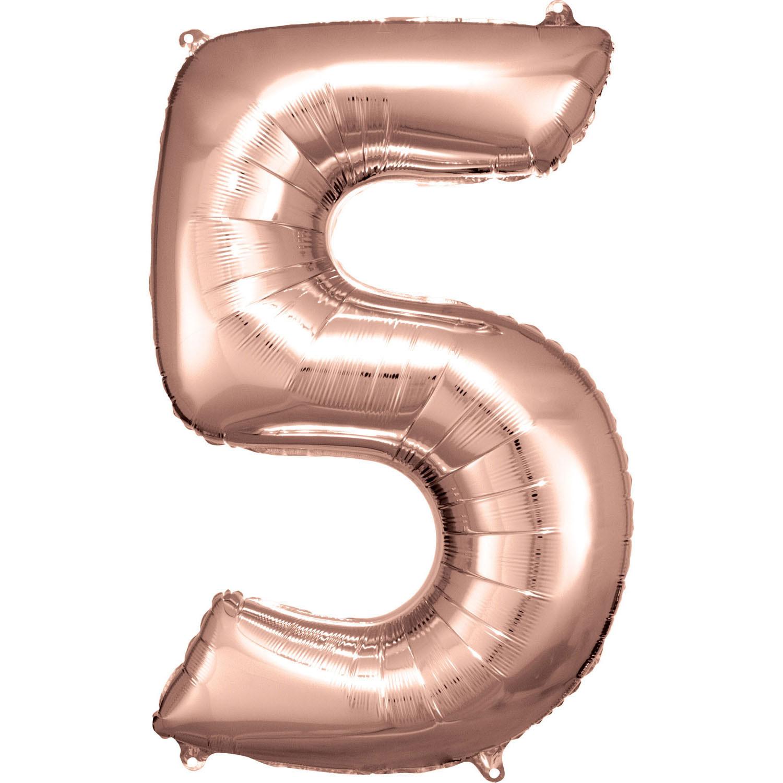 Grosse Zahl 5 Rosé Gold Folienballon