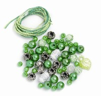 Perlen-Set grün-weiß