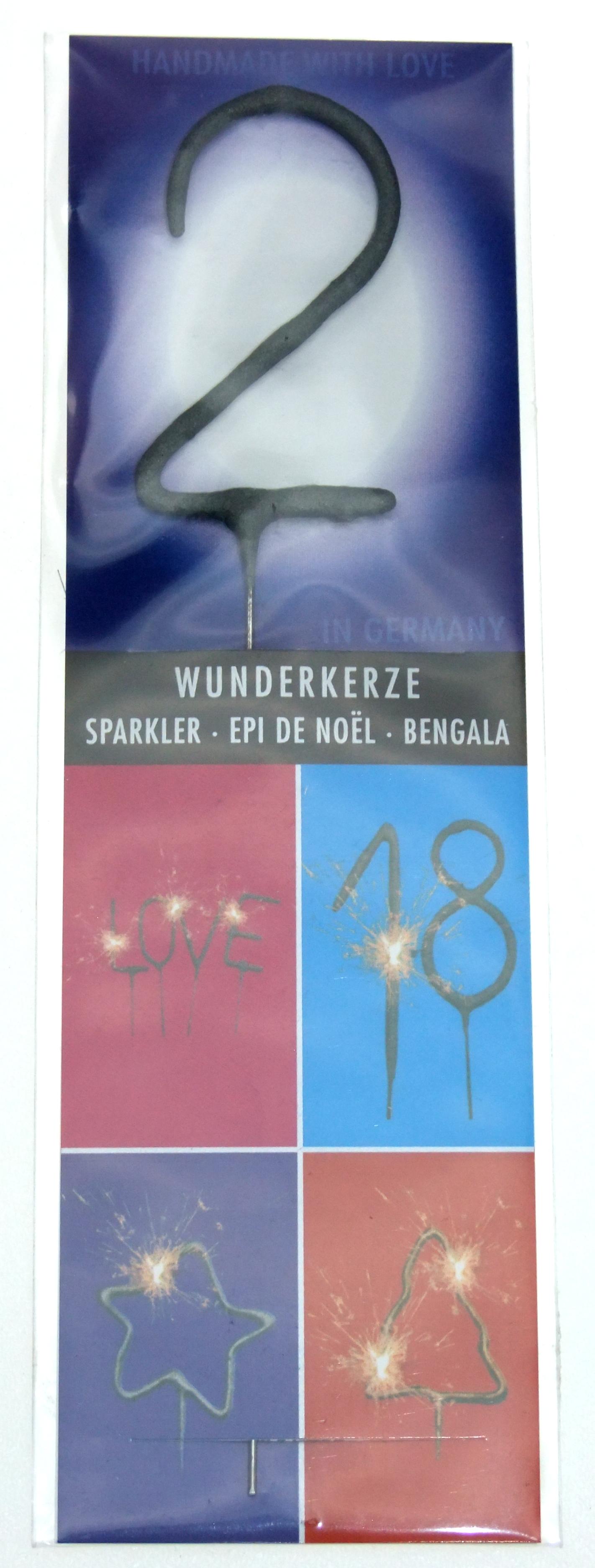 Wondercandle,Zahl 2 Wunderkerze, Tischfeuerwerk