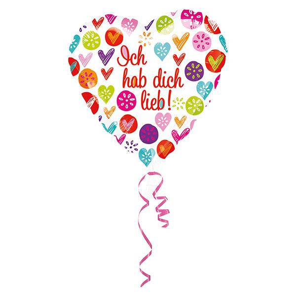 Folienballon Herz Ich hab Dich lieb