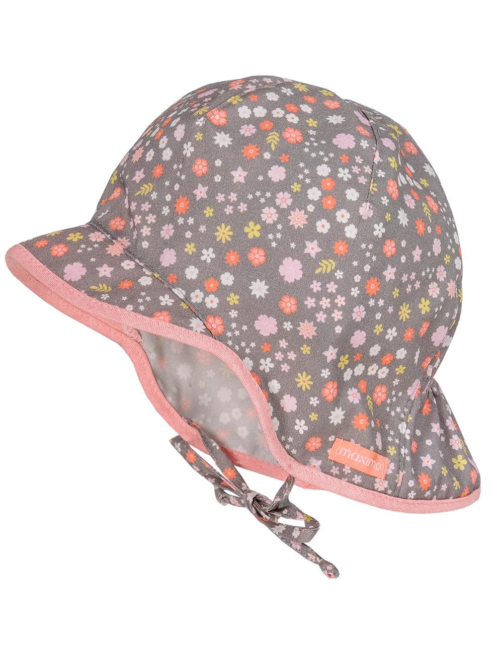 GIRL-Schildmütze 39 Maximo. Farbe: holzkohle-rosa-blümchen, Größe: 39