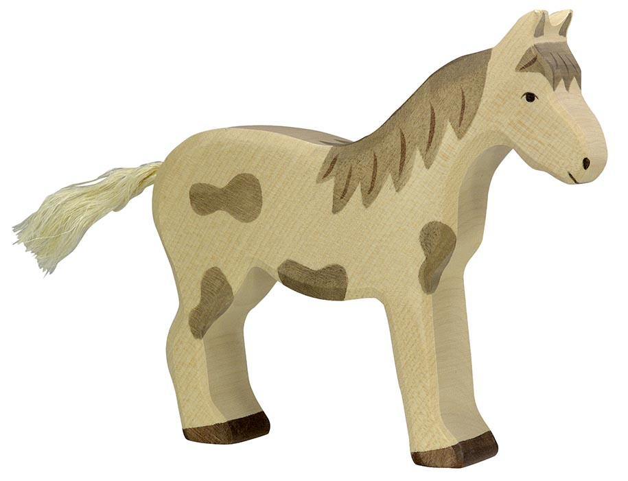 Pferd, stehend, gefleckt ca. 14 x 2,8 x 15,5 cm, Holz, per Stück