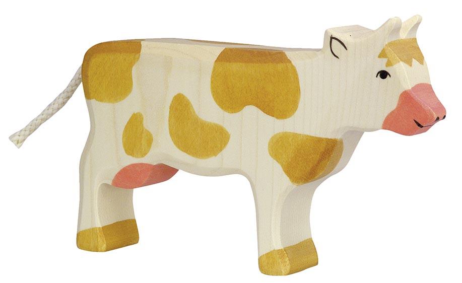 Kuh, stehend, braun ca. 17,5 x 2,8 x 11 cm, Holz, per Stück
