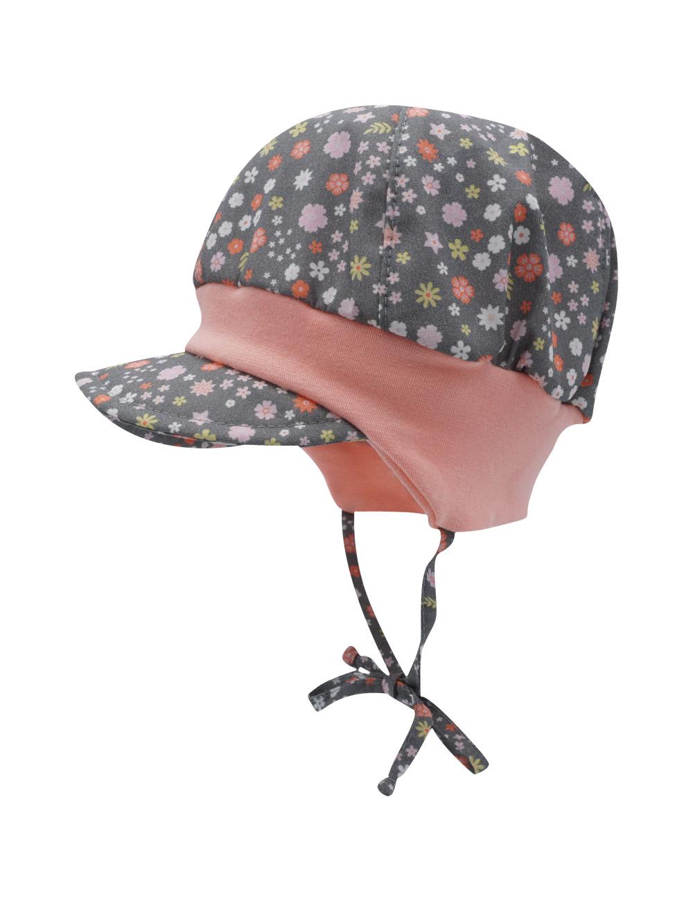 GIRL-Schildmütze 45 Maximo. Farbe: holzkohle-rosa-blümchen, Größe: 45