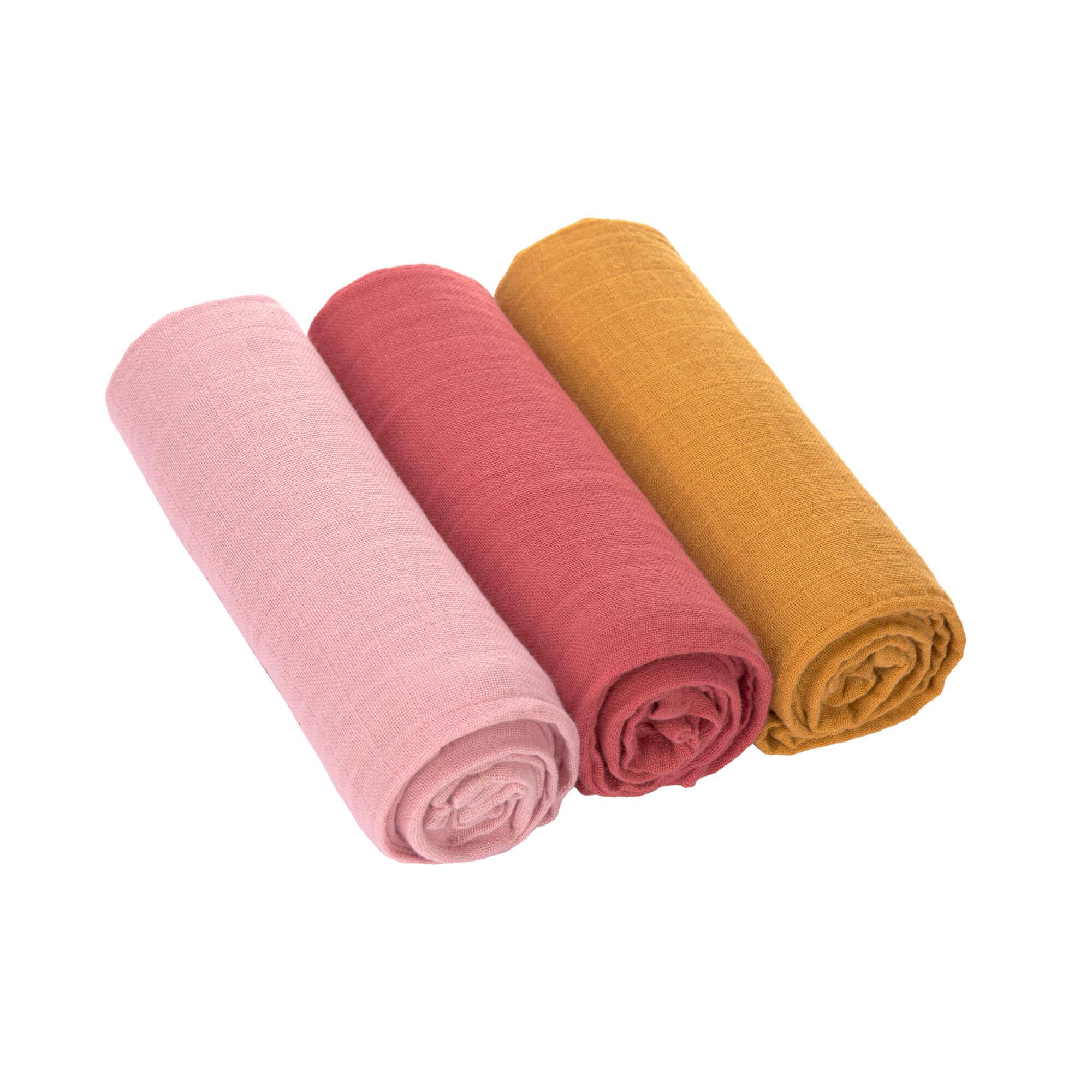 Swaddle&Burp Blanket L 3 rose