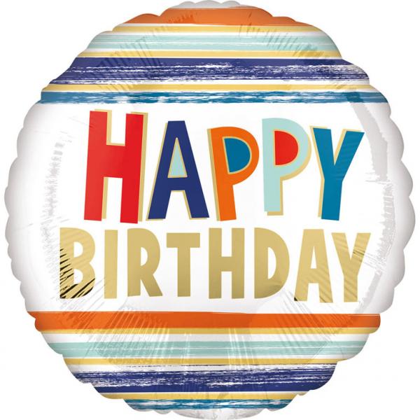 Folienballlon Geburtstag Buchstaben und Streifen