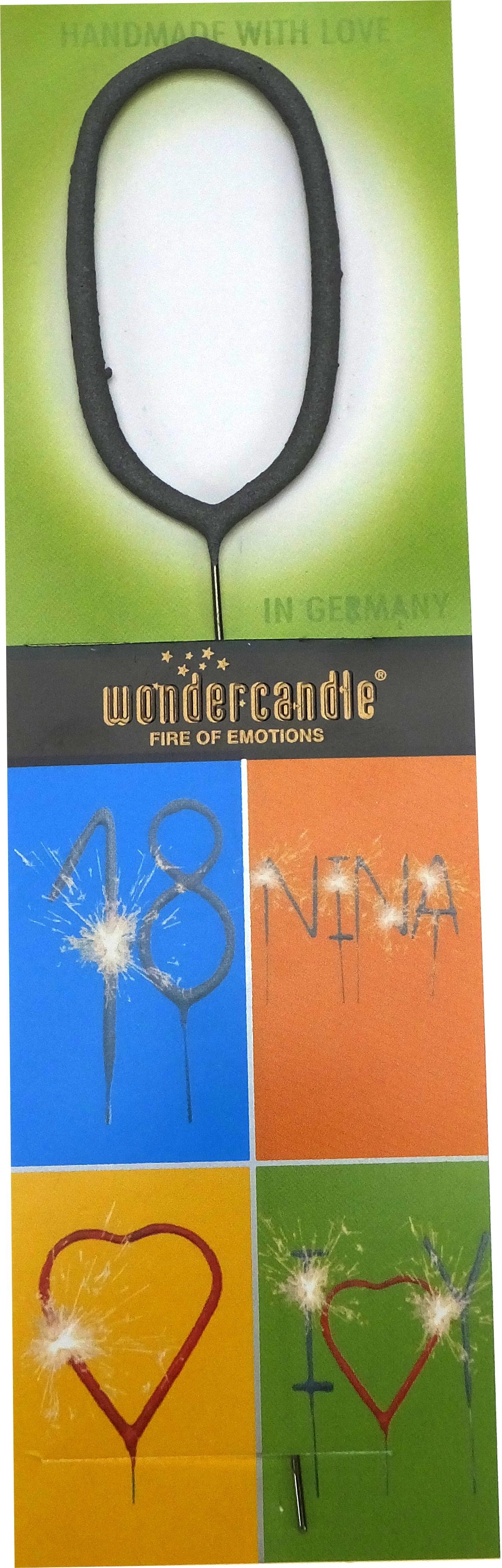 Wondercandle,Zahl 0 Wunderkerze, Tischfeuerwerk