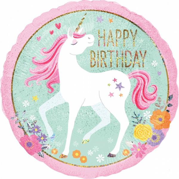 Folienballon Magic Unicorn Happy Birthday