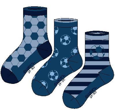 Socken 3er Pack Fussball Größe: 31-34