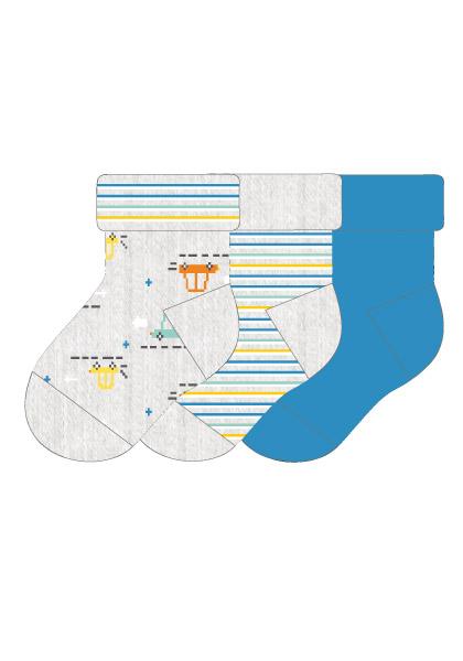 BOY-Socken, 3er Pack 62 Maximo. Farbe: silbermel./aquamarin, Größe: 62/68