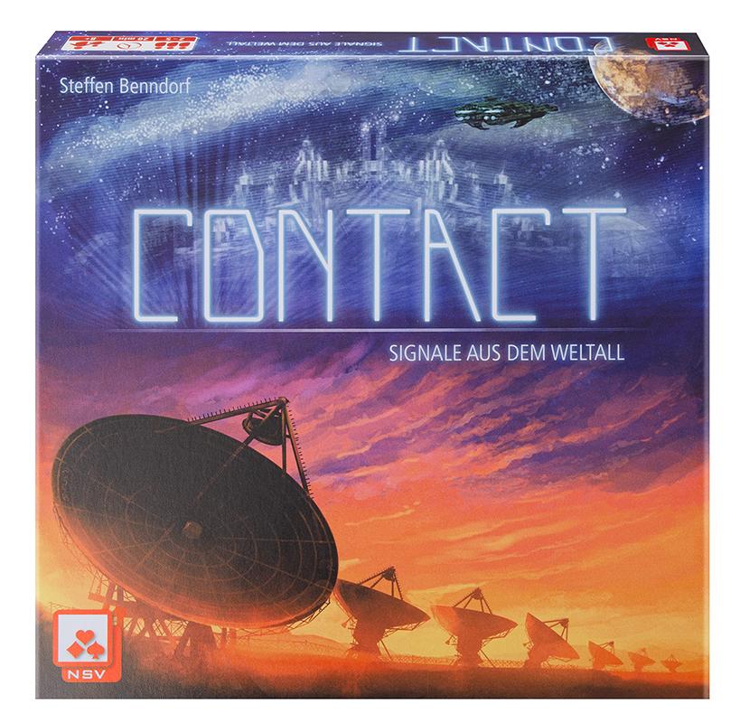 CONTACT 24 Planetenplättchen, 1 Raketenfigur, 6 Fässer Treibstoff, 18 Planetenkarten, 3 Helferkarten, 12 Signalkarten, 1 geheimnisvoller Umschlag