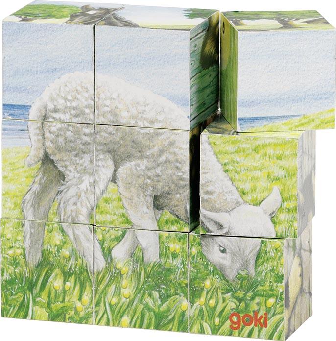 Würfelpuzzle Bauernhoftiere 10,5 x 10,5 x 3,5 cm, Holz, 6 Motive, 9 Würfel, per Stück