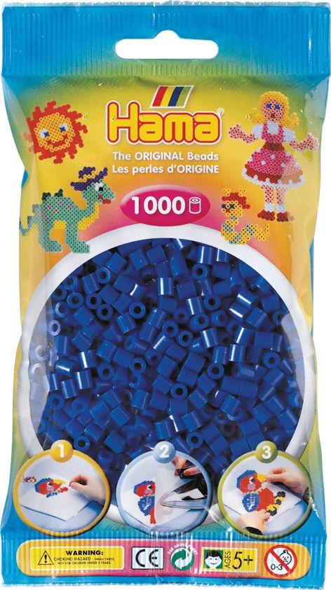 Perlenbeutel 1000 Stck. blau HAMA Beutel mit Perlen Blau 1.000Stück
