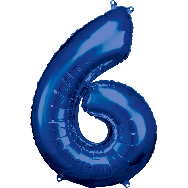 Grosse Zahl 6 Blau Folienball