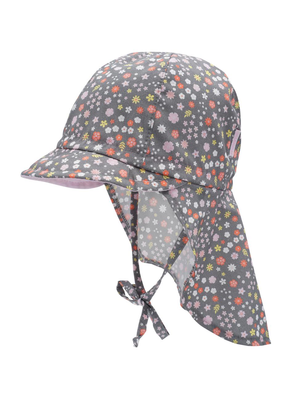 GIRL-Schildmütze 49 Maximo. Farbe: holzkohle-rosa-blümchen, Größe: 49